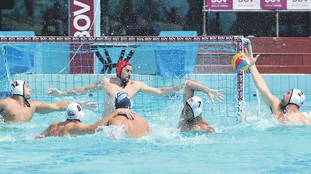 Action from last weekend's Winter League match between Sliema and San Ġiljan at the National Pool. Photo: Wally Galea
