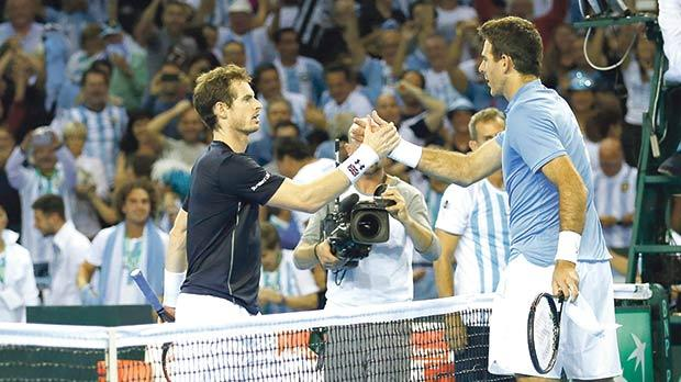 Argentina's Juan Martin del Potro (right) shakes hands with Briton Andy Murray during the Davis Cup semi-finals, in Glasgow, last week. Argentina won the tie to reach the final.