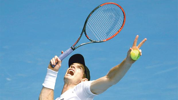 World number one Andy Murray serves during a training session ahead of the Australian Open.