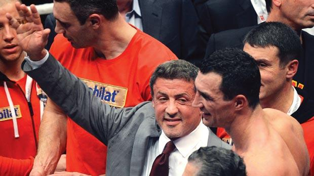 Vladimir Klitschko is congratulated by actor Sylvester Stallone after Saturday's fight.