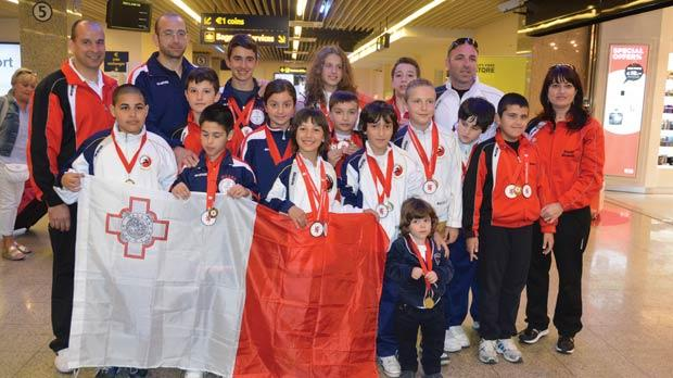 The Malta Karate Federation group on their arrival from Scotland.