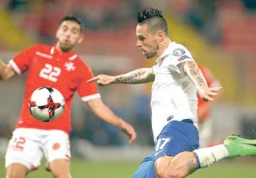 Slovakia's Marek Hamsik tries a shot against Malta after coming on as a second-half substitute.