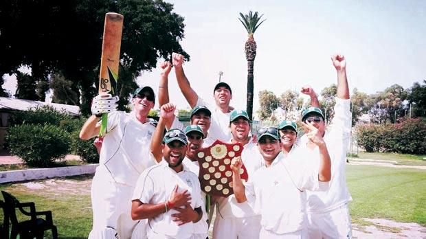Krishna CC players celebrate at the Marsa Sports Club.