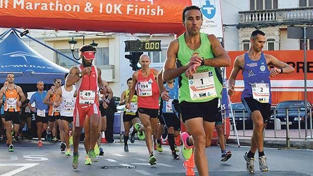 The initial stages of the 2016 Express Trailers Żurrieq Half Marathon, on Sunday.