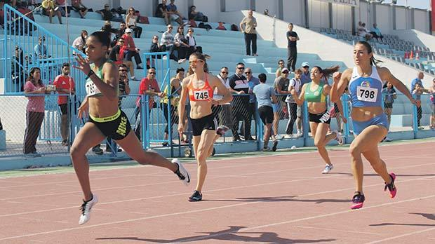 Janet Richard, of St Patrick's AC, winning one of the sprint races at the Marsa athletics stadium.
