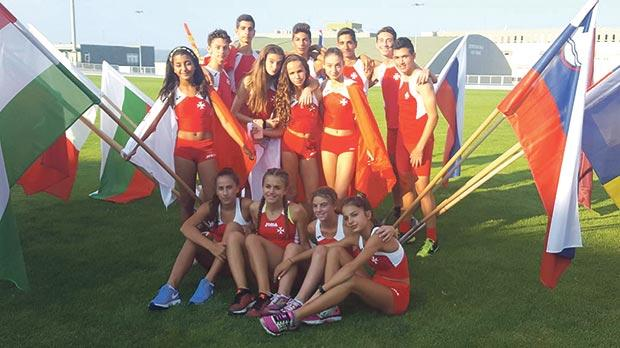 The young Maltese athletes at the European Kids Athletics meeting in the Czech Republic.