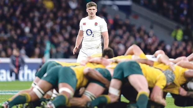 England's Owen Farrell looks on during scrum action at Twickenham.
