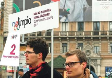 Activists of the Momentum Movement collect signatures to force a referendum on the country's Olympic plans for the 2024 Olympic Games.