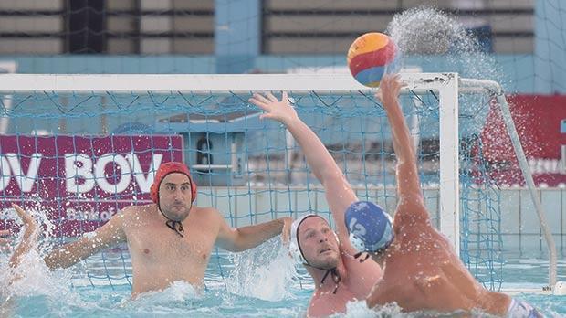 San Ġiljan never allowed opponents Sliema any extra space to manoeuvre, yesterday. Photo: Mark Zammit Cordina