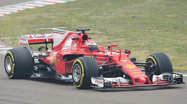 Kimi Raikkonen drives the new Ferrari at the Fiorano track.