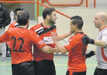 Ħamrun players celebrate against Swieqi. Photo:Joe Borg
