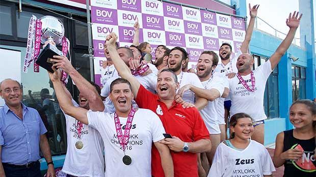 Marsaxlokk players in jubilant mood after lifting the championship trophy.Photo:Paul Zammit Cutajar