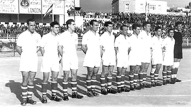 The Malta FA XI (January 6, 1950 – left to right) Leli Zammit, Lolly Borg, Pullu Demanuele, Tony Nicholl, Eddie Cole, Ġużi Bennetti, Benny Camilleri, Sunny Borg Cardona, Salvinu Schembri, Gejtu Sacco and Wenzu Gabaretta at the Gżira Stadium.
