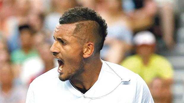 Nick Kyrgios reacts during his match against Andreas Seppi at the Australian Open which was played last month.