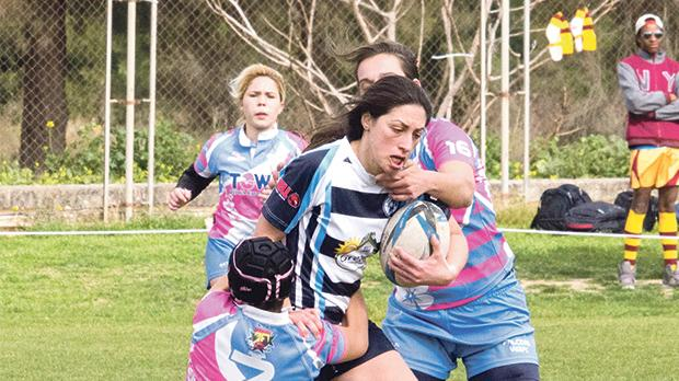 Falcons had to dig deep to beat Swieqi Overseas in Women's Sevens. Photo: Ian Stilon