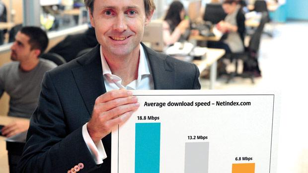 Melita's chief operations officer Ludolf Rasterhoff with a chart of internet broadband speeds in Malta and Europe.