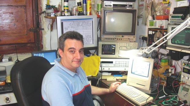 Maurizio Banavage in his workshop where he restores the vintage computers in his collection.