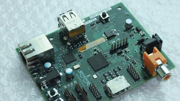 The raspberry Pi mini computer.