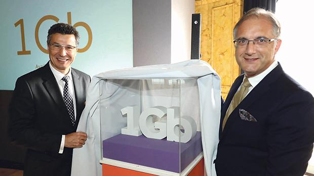 (From left) Attila Keszeg, CEO at GO and Christian Sammut, chief officer – business at GO during the unveiling of GO's 1 Gigabit internet speed connection.