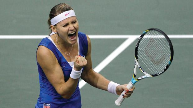 Lucie Safarova reacts after winning a point against Ana Ivanovic.