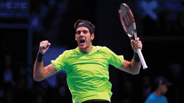 Juan Martin del Potro rejoices after beating Roger Federer.