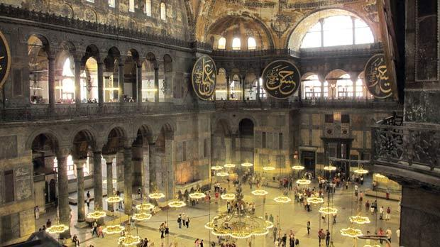 The interior of Hagia Sophia.