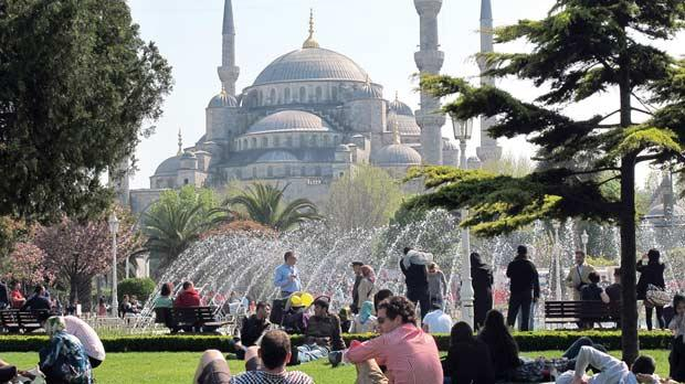 The park that separates the Blue Mosque and Hagia Sophia is a centuries-old favourite spot for many locals.