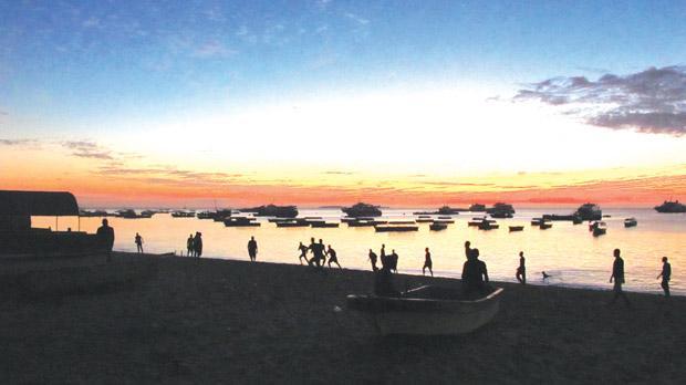 Beach football at sunset. Photo: Stephen Bailey