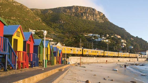 Colourful beach shacks near Cape Town.