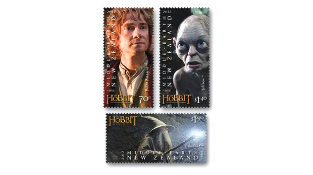 A set of stamps bearing the images of Hobbit characters.