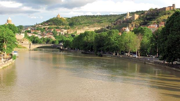 Tbilisi is effectively divided into two by the Mtkvari River. Photos: Stephen Bailey