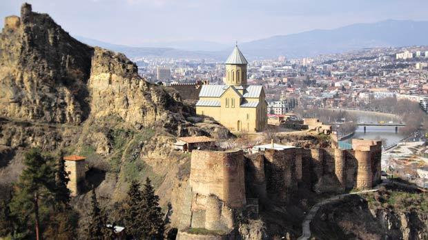 The medieval castle of Narikala overlooks Tbilisi.
