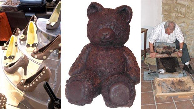 Left: Sculptures made of chocolate. Right: Older times... the ingredients were also treated with a stone rolling pin, whose weight varied according to the different working steps. Picture shows Luigi Baglieri, a renowned chocolatier, proudly exhibiting his skills at the old method of chocolate making.