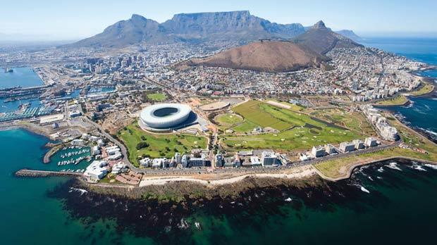 View of Cape Town, with the World Cup stadium in the foreground.
