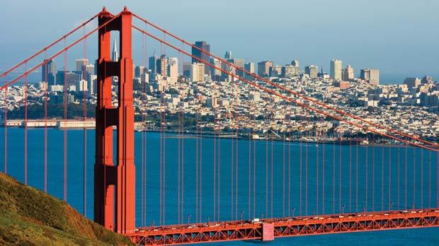 Golden Gate Bridge and downtown San Francisco.
