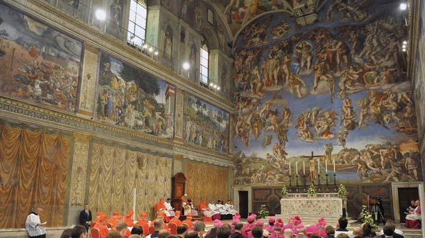 Pope Benedict XVI leading Verspers in the Sistine chapel, 500 years after his predecessor Pope Julius II did the same to mark the completion of Michelangelo's ceiling masterpiece. Photo: AFP