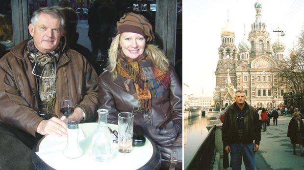 In a Paris cafe with a friend. Right: David back in St Petersburg, 34 years after his first visit.