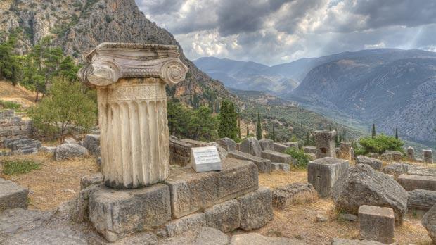 The temple of Apollo at Delphi.
