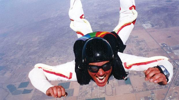 Justin has done countless skydives over the years.