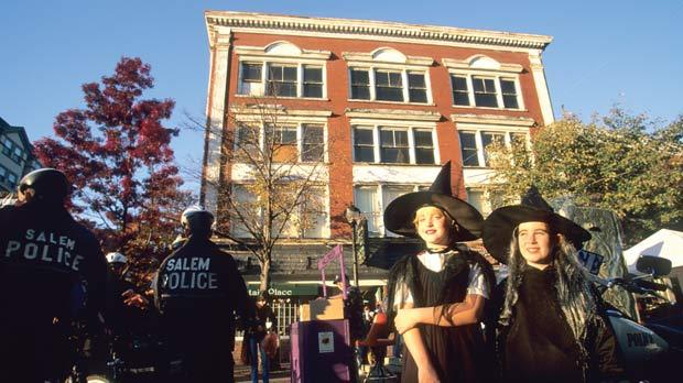 Children dressed as witches in Salem.
