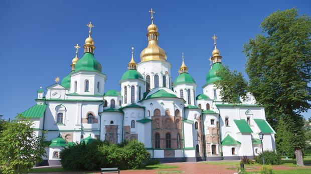 St Sophia Cathedral's green and gold facade boasts of Kiev's riches.