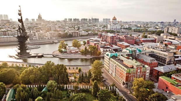 A panoramic aerial view of the Russian capital.
