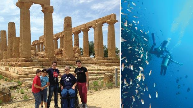 An accessible tour of Agrigento. Right: Scuba is a great activity for people with disability, as they find that the weightlessness in the water frees them up.
