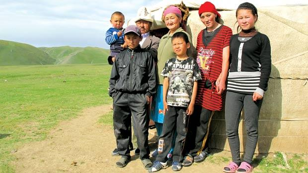 A host family outside one the yurts. Photos: Stephen Bailey