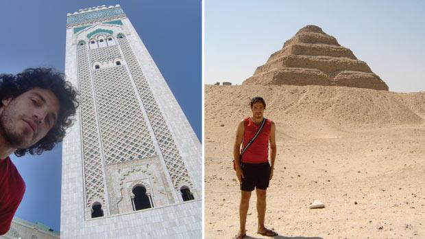 Hasan II mosque in Casablanca. Right: The Pyramid of Djoser or step pyramid in the Saqqara necropolis, Egypt.