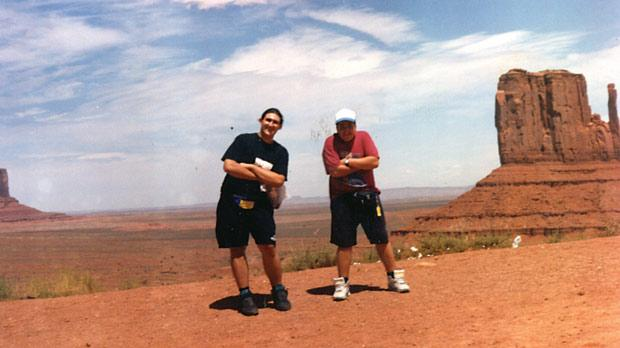Pawlu with his friend Jesmond in Monument Valley, Colorado.