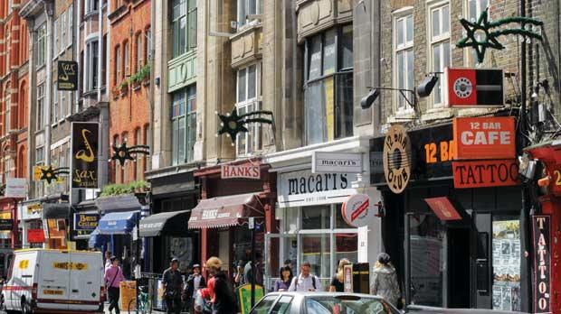 Denmark Street in London, famous for its connections to British popular music.