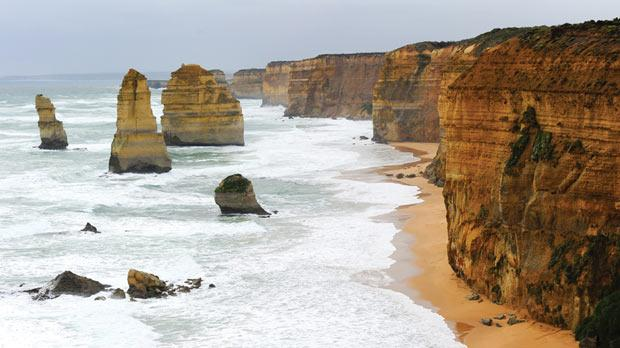Twelve Apostles rocks by the Great Ocean Road in Australia.