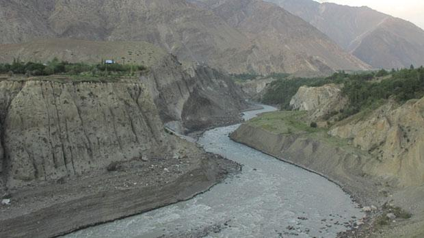 Chitral River and the mountains of the Hindu Kush.