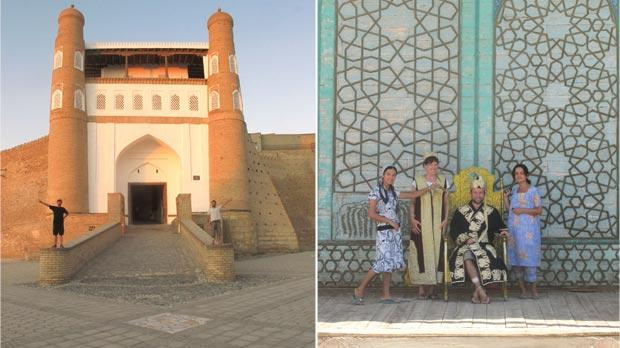 Ark Fortress gate in Bukhara. Right: All hail the king... Locals are used to welcoming Silk Road travellers.